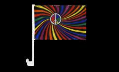 Autofahne Regenbogen Peace Swirl - 30 x 40 cm