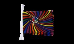 Fahnenkette Regenbogen Peace Swirl - 15 x 22 cm