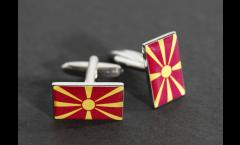 Manschettenknöpfe Flagge Nordmazedonien - 18 x 12 mm