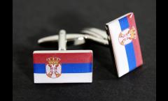 Manschettenknöpfe Flagge Serbien mit Wappen - 18 x 12 mm