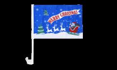 Autofahne Merry Christmas Weihnachtsmann mit Schlitten - 30 x 40 cm