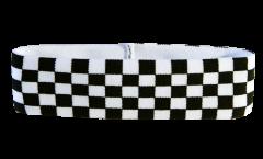 Stirnband Karo Schwarz Weiß Zielflagge - 6 x 21 cm