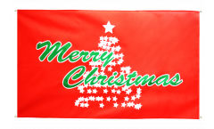 Balkonflagge Merry Christmas Weihnachtsbaum - 90 x 150 cm