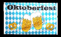 Balkonflagge Oktoberfest Bierkrug und Brezel - 90 x 150 cm
