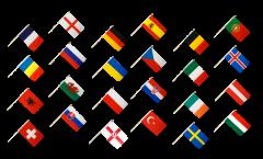 Stockflaggen Set EM 2016 - 30 x 45 cm