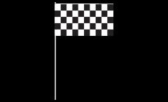 Papierfahnen Karo Schwarz Weiß Zielflagge - 12 x 24 cm