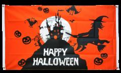 Balkonflagge Happy Halloween orange - 90 x 150 cm