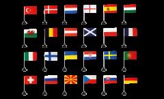 EM Tischflaggen Set Fußball 2021 - 10 x 15 cm