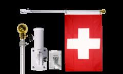 Fahnenstange mit Wandhalterung aus Aluminium, max. Länge 180 cm, schwenkbar (180°), mit Kugelspitze