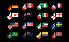 Fahnenkette Frauen Fußball 2011, 16 Nationen - 15 x 22 cm