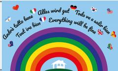 Flagge Alles wird gut - Regenbogen - 90 x 150 cm