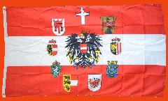 Flagge Österreich mit Adler und Wappen der 9 Länder