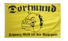 Flagge Fanflagge Dortmund Bulldogge schwarz-gelber Ruhrpott