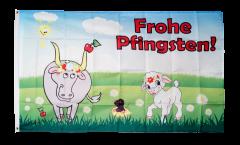 Flagge Frohe Pfingsten mit Lamm und Kuh - 90 x 150 cm