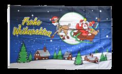 Flagge Frohe Weihnachten Rentier und Weihnachtsmann