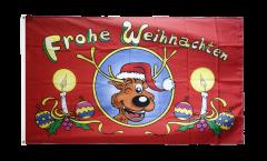 Flagge Frohe Weihnachten Rentierkopf - 90 x 150 cm