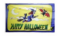 Flagge Happy Halloween gelb