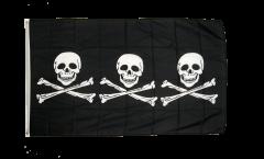 Flagge Pirat 3 x Totenkopf - 90 x 150 cm