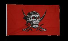 Flagge Pirat auf rotem Tuch