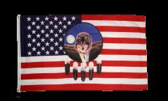 Flagge USA Feder mit Wolf - 90 x 150 cm
