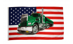 Flagge USA mit grünem Truck - 90 x 150 cm