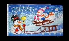 Flagge Winter mit Schneemann - 90 x 150 cm