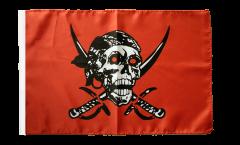 Flagge mit Hohlsaum Pirat auf rotem Tuch
