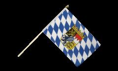 Stockflagge Deutschland Bayern mit Wappen - 30 x 45 cm