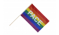 Stockflagge Regenbogen mit PACE