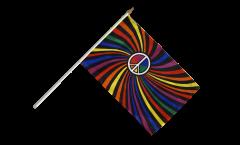 Stockflagge Regenbogen Peace Swirl - 30 x 45 cm
